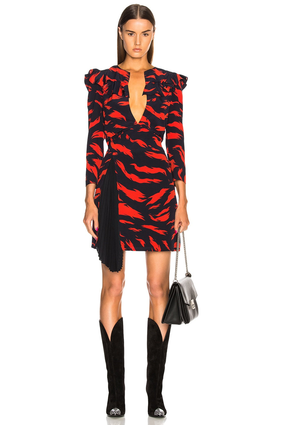 Image 1 of Givenchy Printed Ruffle Trim Mini Dress in Red & Black
