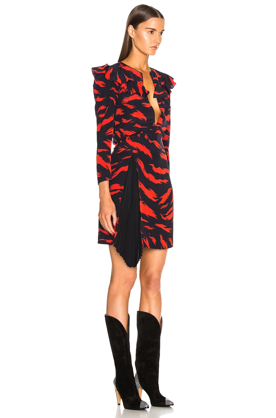 Image 2 of Givenchy Printed Ruffle Trim Mini Dress in Red & Black
