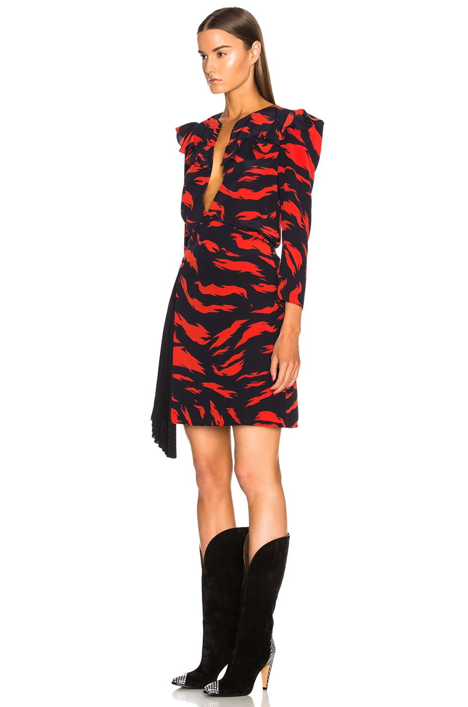 Image 3 of Givenchy Printed Ruffle Trim Mini Dress in Red & Black