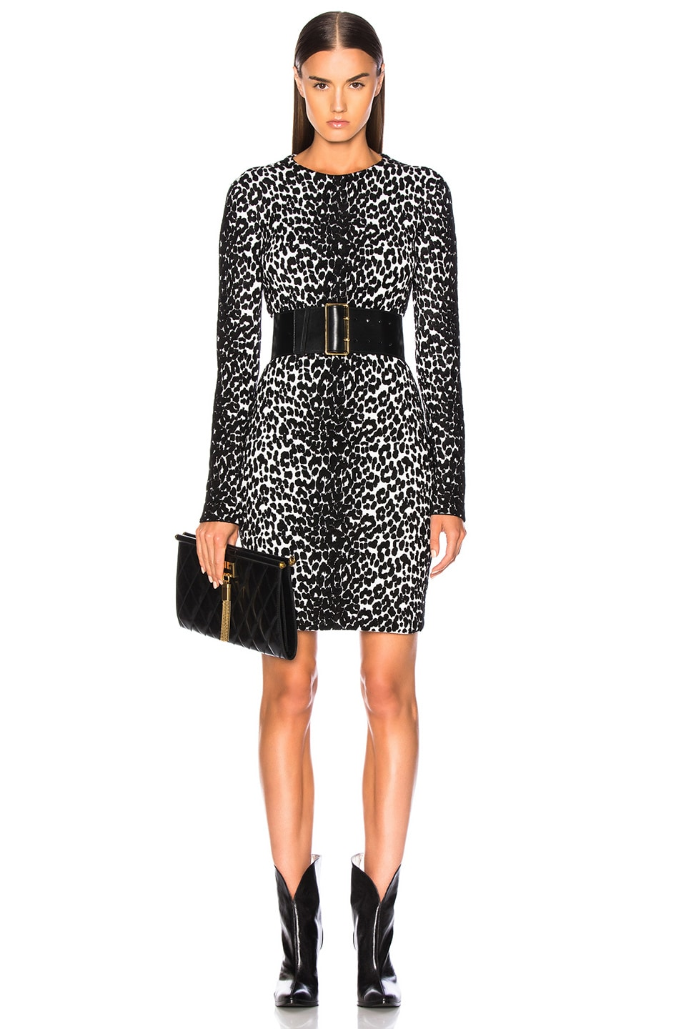 Image 1 of Givenchy Leopard Jacquard Sweater Dress in Black & White