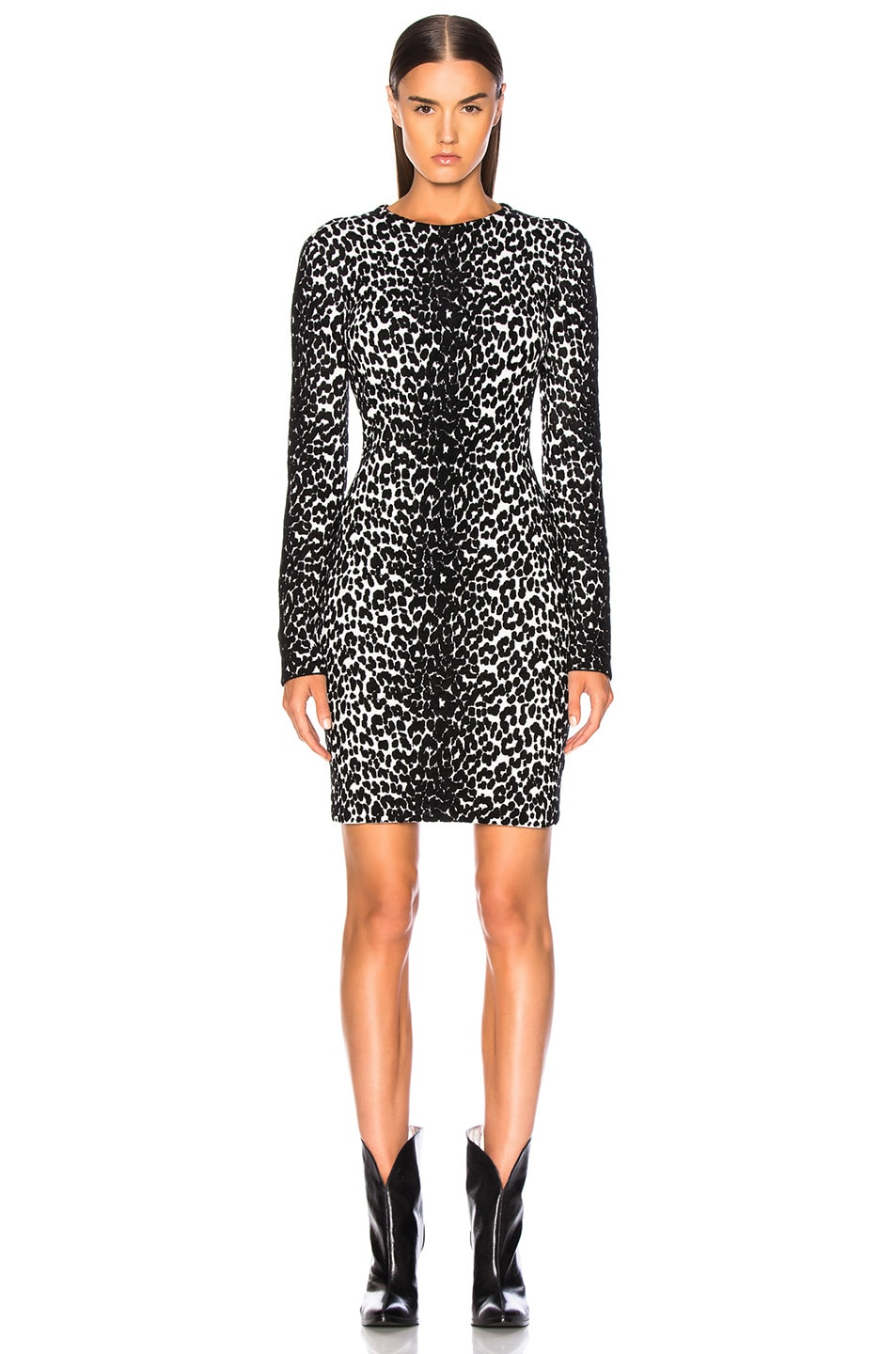 Image 2 of Givenchy Leopard Jacquard Sweater Dress in Black & White