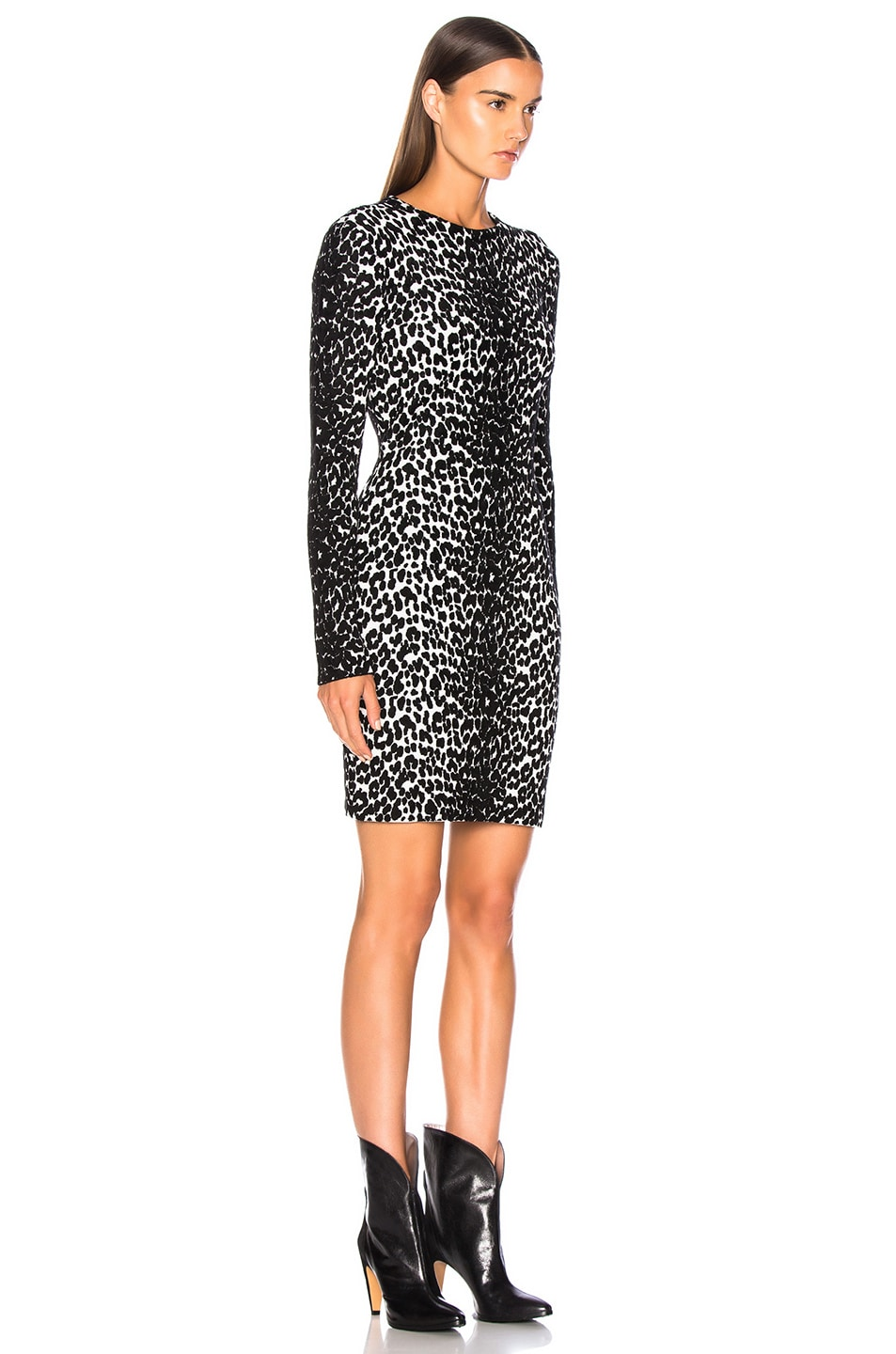 Image 3 of Givenchy Leopard Jacquard Sweater Dress in Black & White