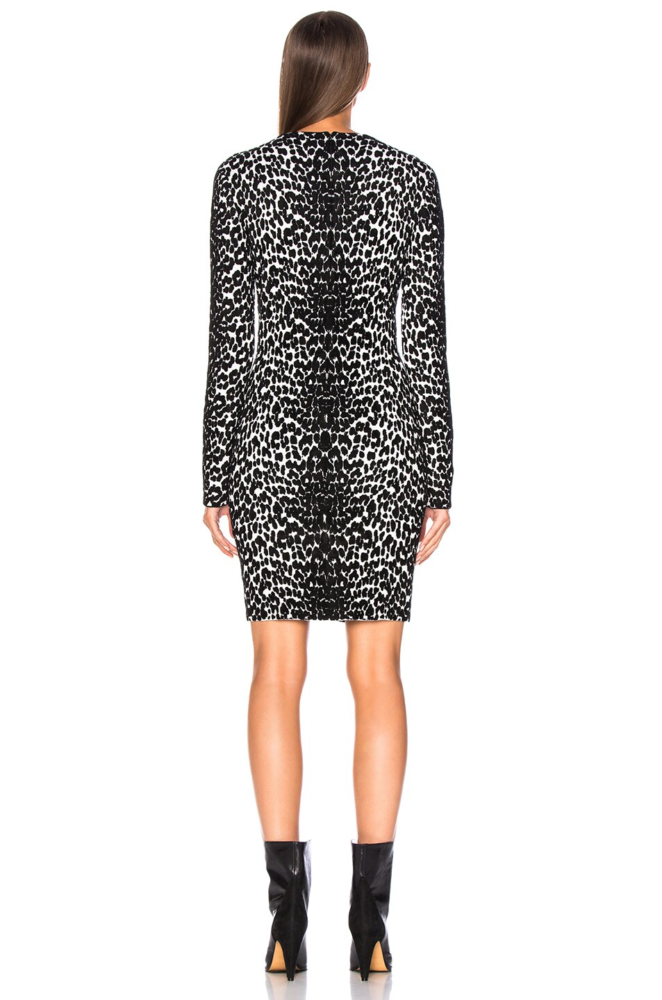Image 4 of Givenchy Leopard Jacquard Sweater Dress in Black & White