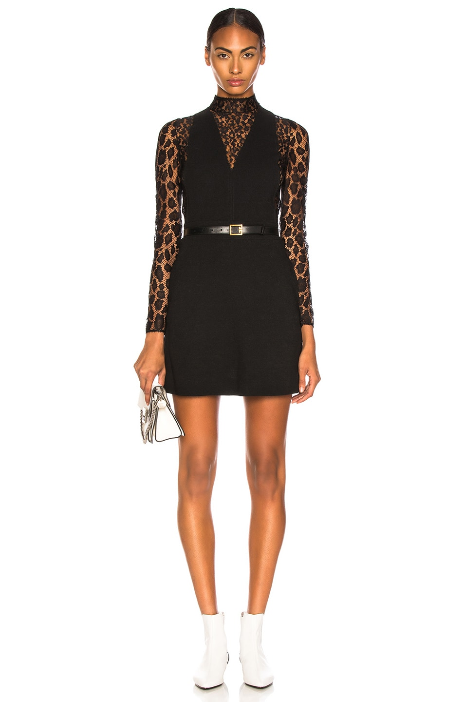 Image 1 of Givenchy Leopard Print Wool Crepe Overall Dress in Black
