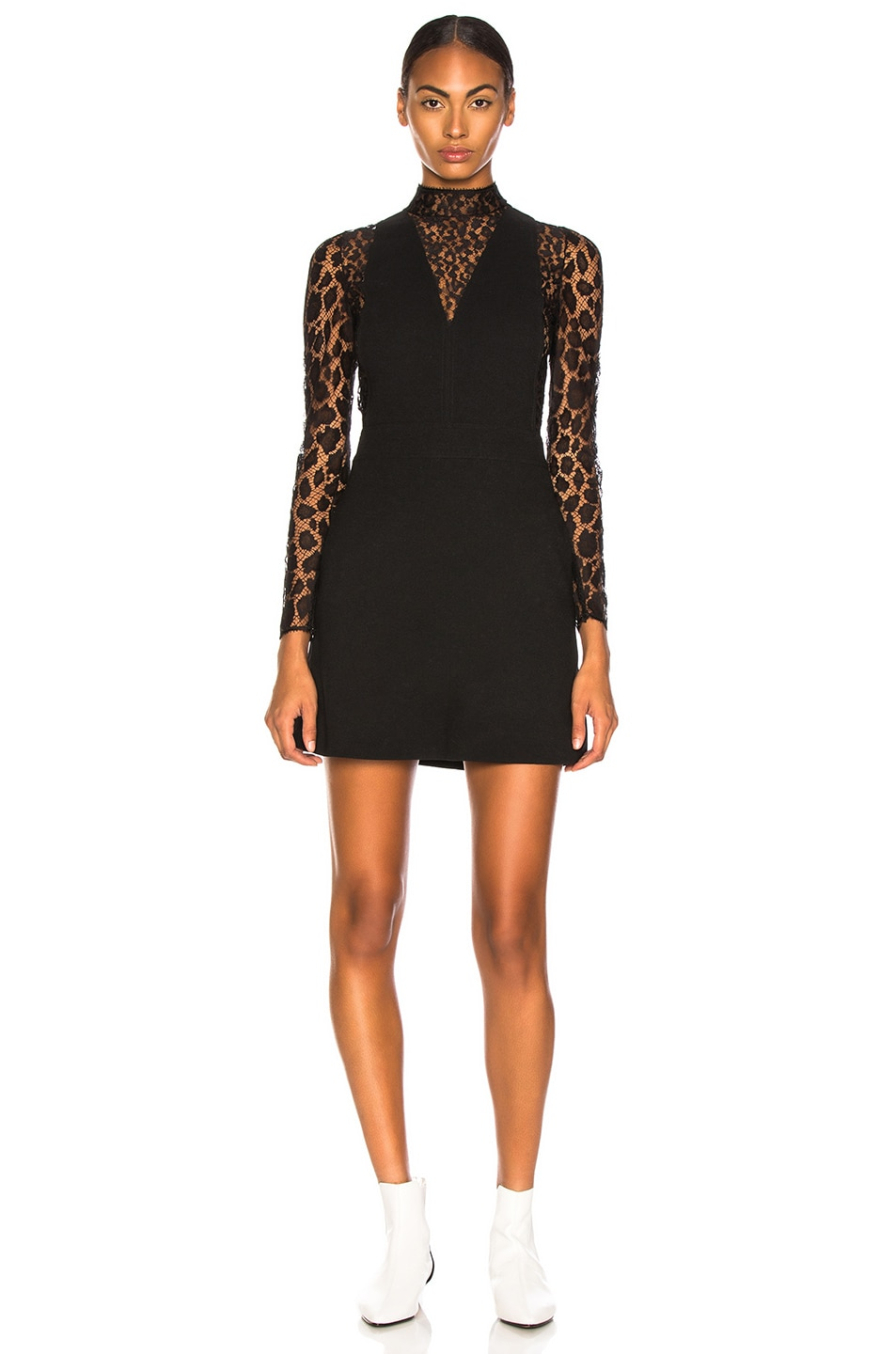 Image 2 of Givenchy Leopard Print Wool Crepe Overall Dress in Black