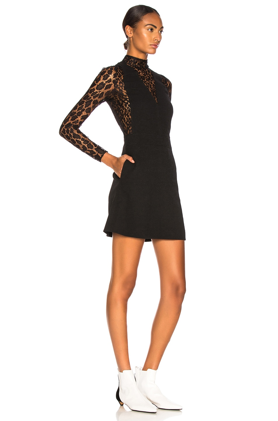Image 3 of Givenchy Leopard Print Wool Crepe Overall Dress in Black