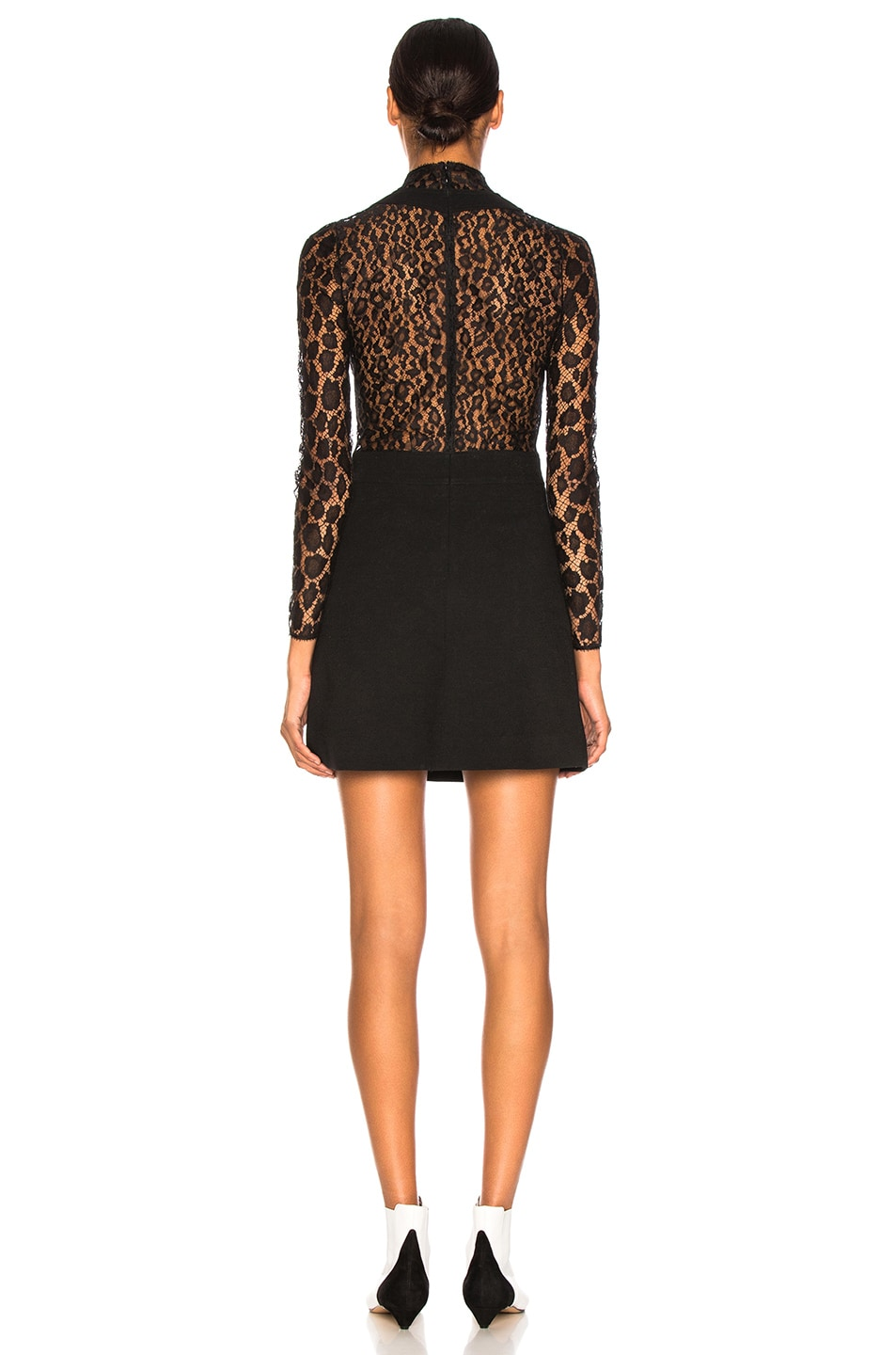 Image 4 of Givenchy Leopard Print Wool Crepe Overall Dress in Black