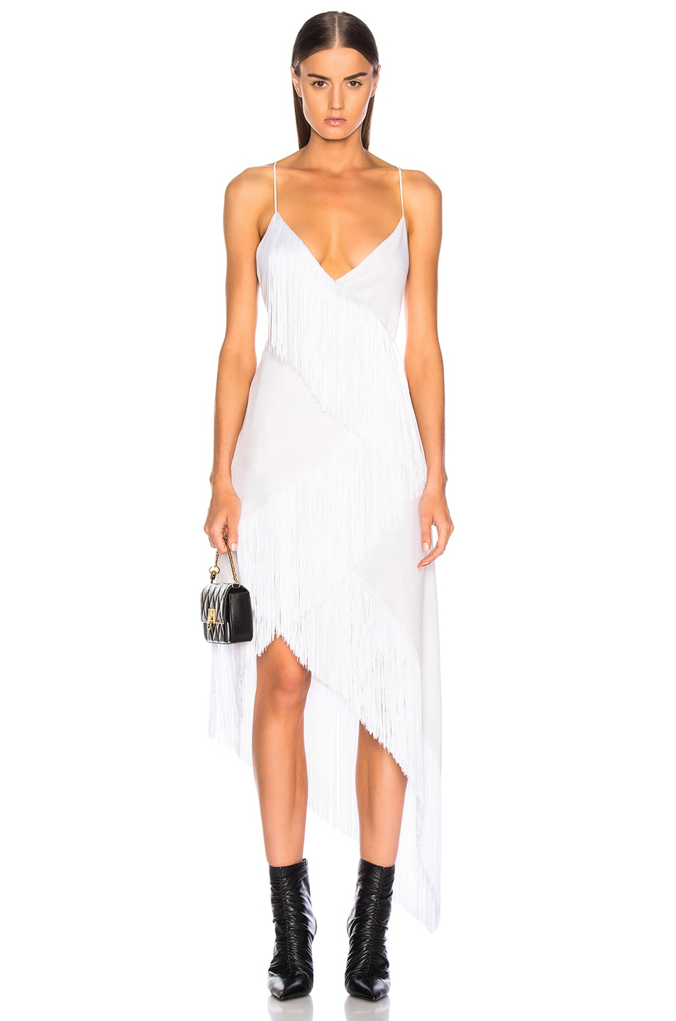 Image 1 of Givenchy Tiered Fringe Slip Dress in Off White