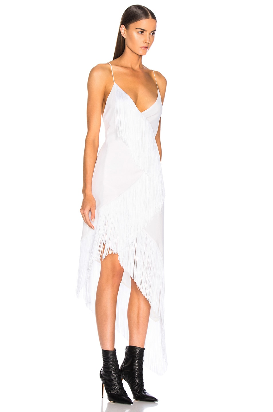 Image 2 of Givenchy Tiered Fringe Slip Dress in Off White