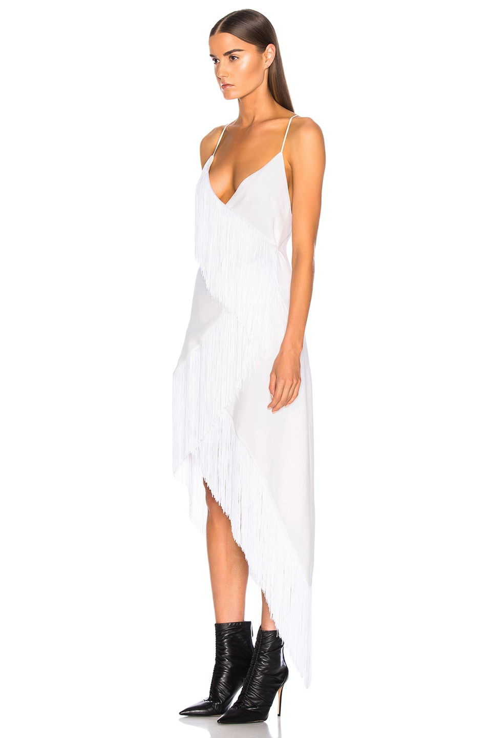 Image 3 of Givenchy Tiered Fringe Slip Dress in Off White
