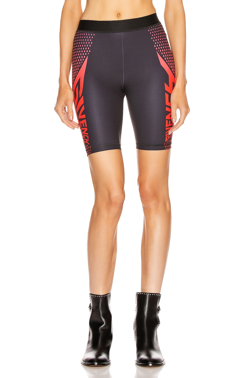 Image 2 of Givenchy Sporty Logo Bike Short in Black & Red