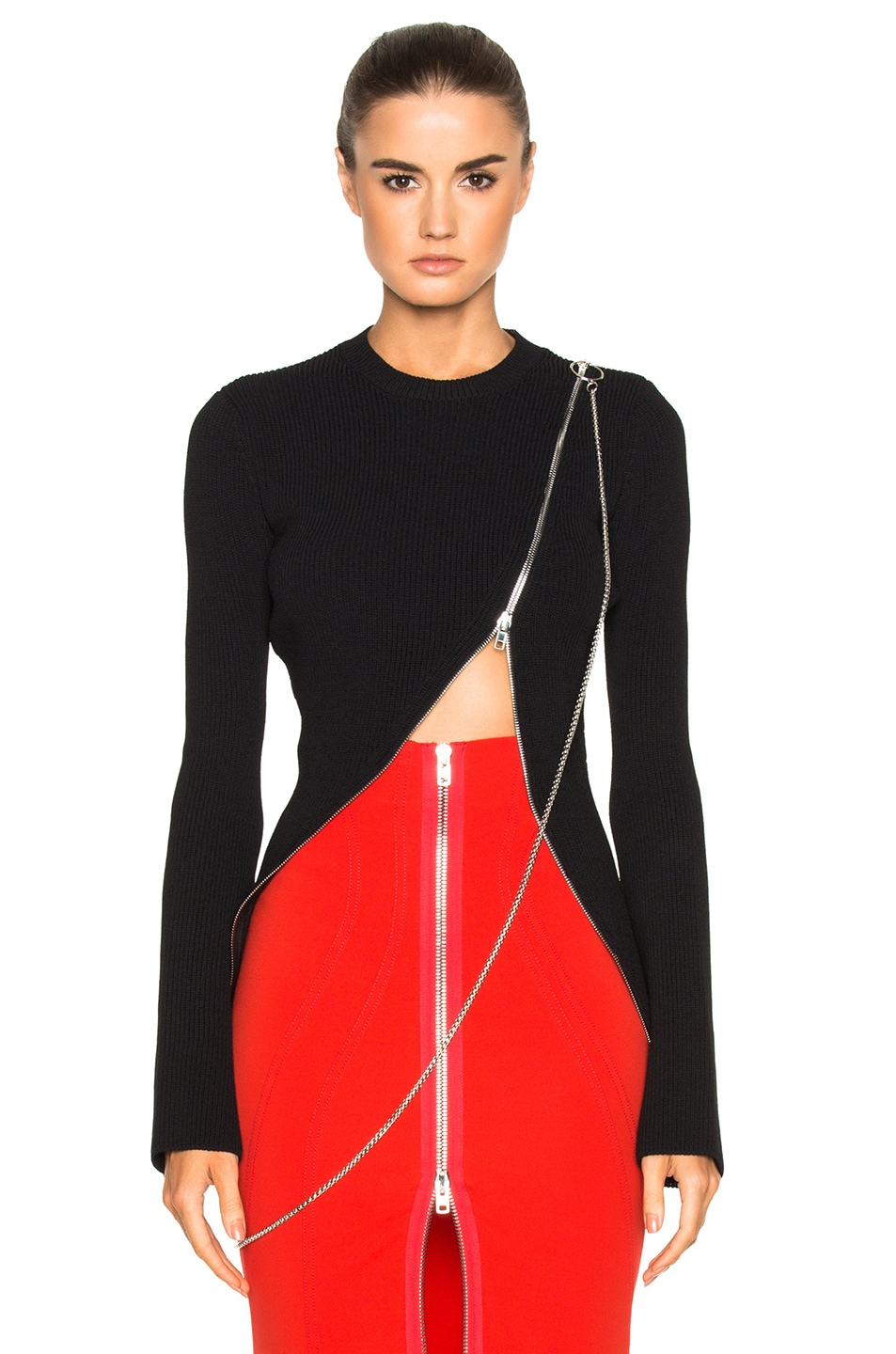 Image 1 of Givenchy Bell Sleeve Zip Detail Sweater in Black
