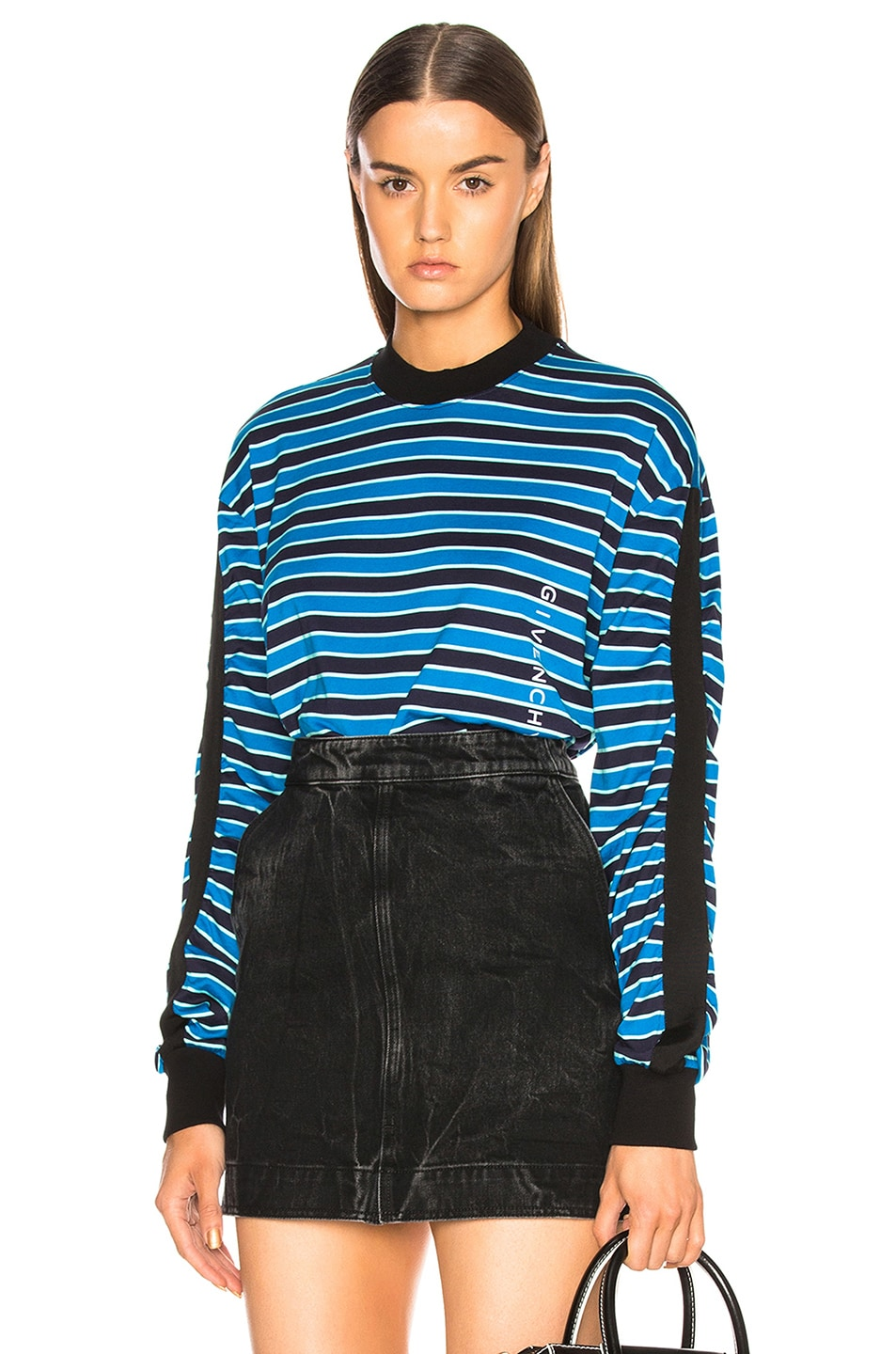 Image 1 of Givenchy Striped Sweater in Black & Blue