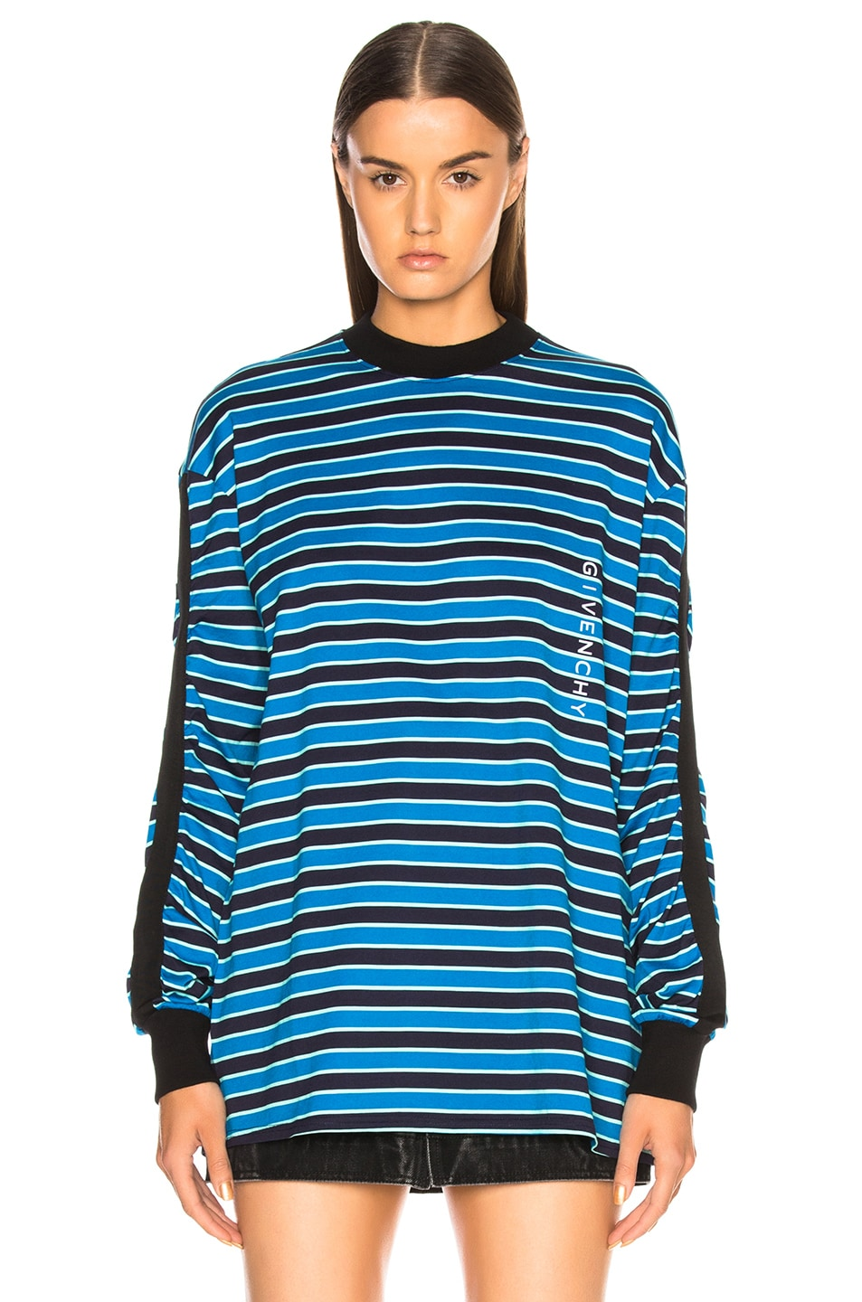 Image 2 of Givenchy Striped Sweater in Black & Blue