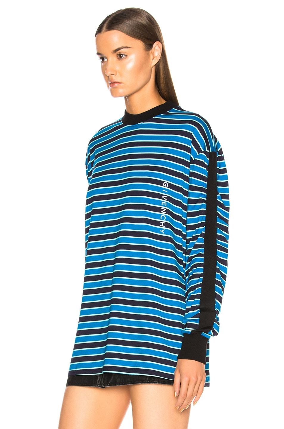 Image 4 of Givenchy Striped Sweater in Black & Blue