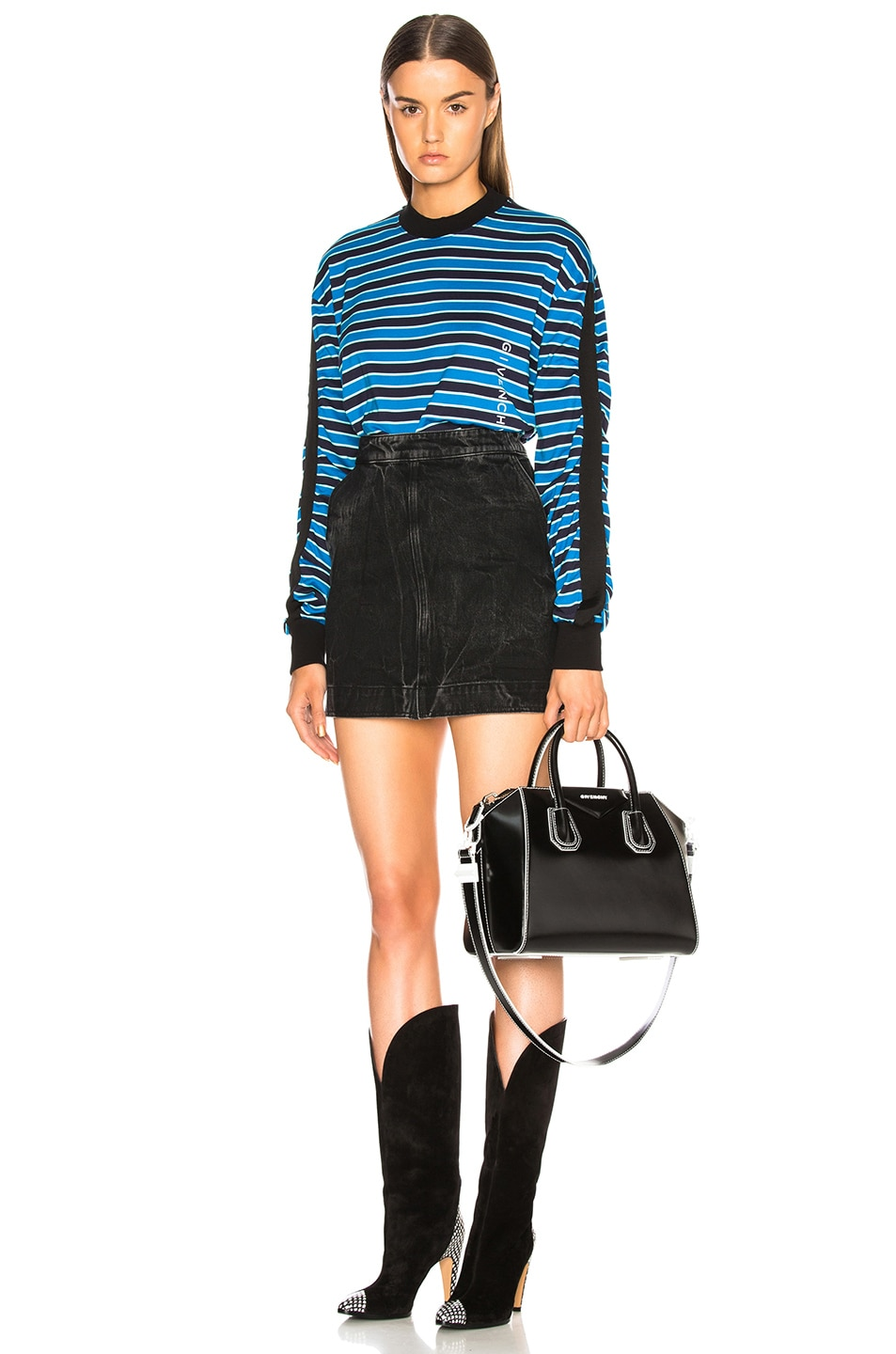 Image 6 of Givenchy Striped Sweater in Black & Blue