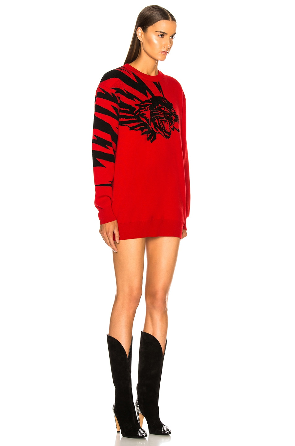 Image 2 of Givenchy Wool Jacquard Animal Faces Sweater in Red & Black