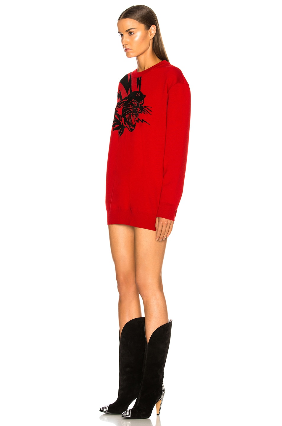 Image 3 of Givenchy Wool Jacquard Animal Faces Sweater in Red & Black