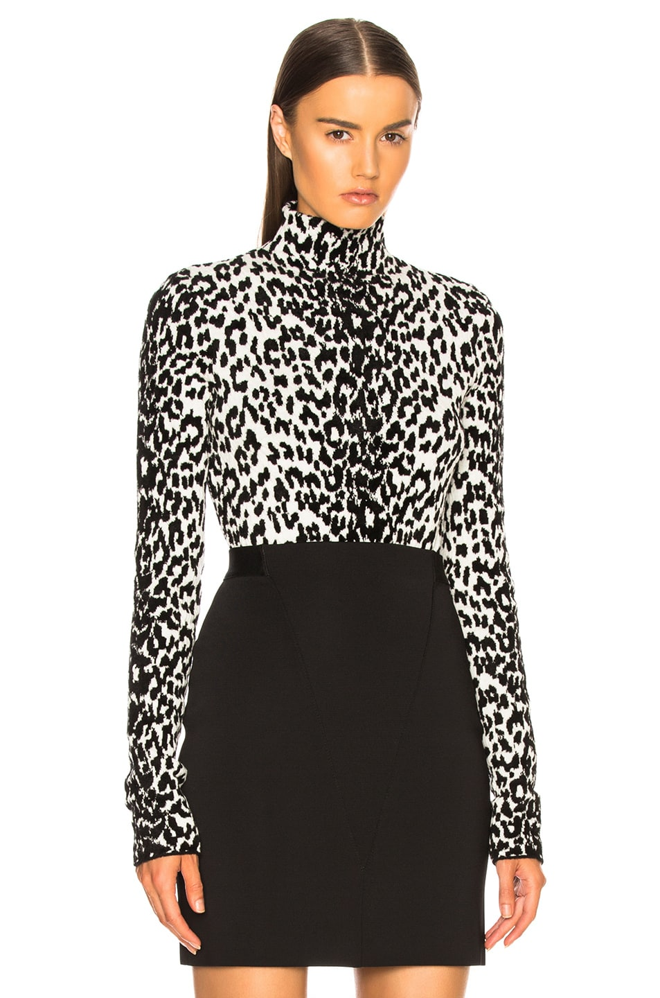 Image 1 of Givenchy Leopard Jacquard Sweater in Black & White