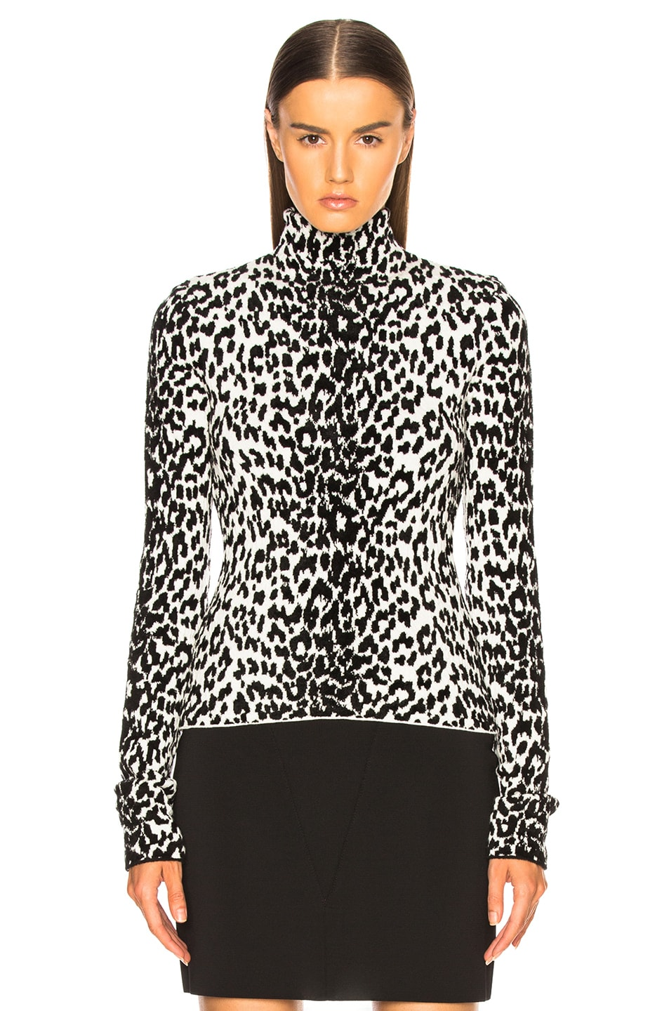 Image 2 of Givenchy Leopard Jacquard Sweater in Black & White