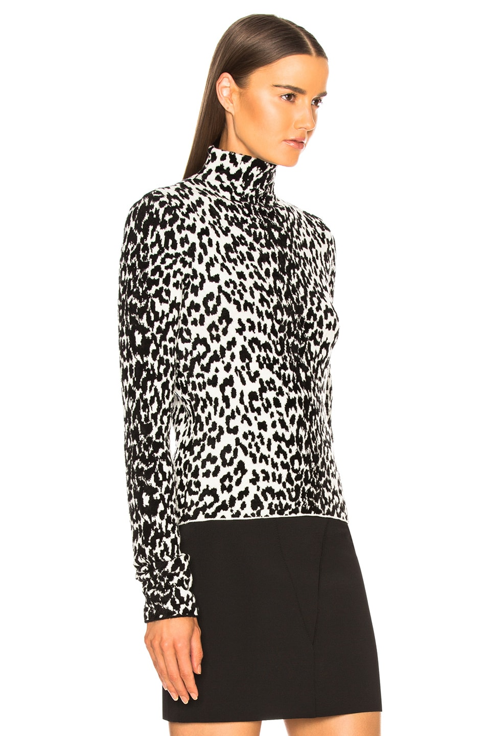 Image 3 of Givenchy Leopard Jacquard Sweater in Black & White