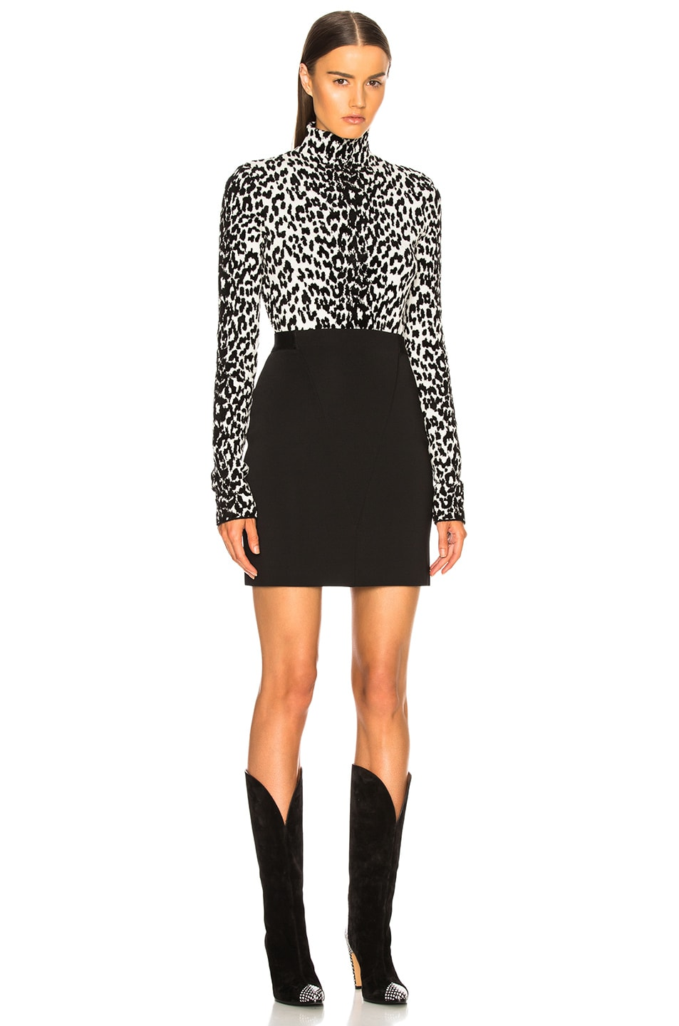 Image 5 of Givenchy Leopard Jacquard Sweater in Black & White