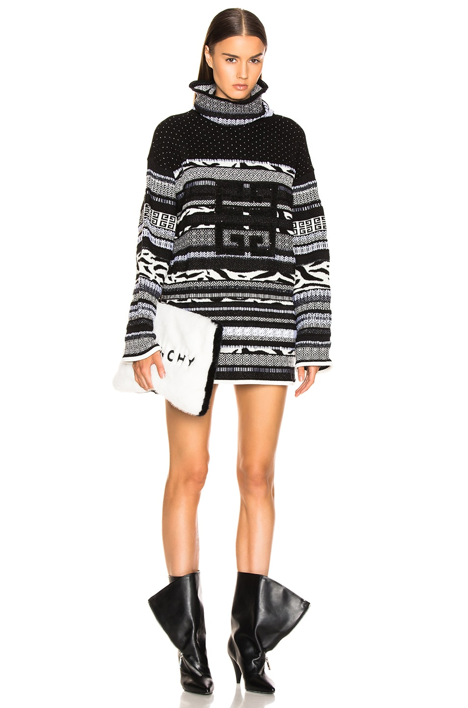 Image 1 of Givenchy 4G Stitched Printed Oversized Turtleneck Sweater in White & Black