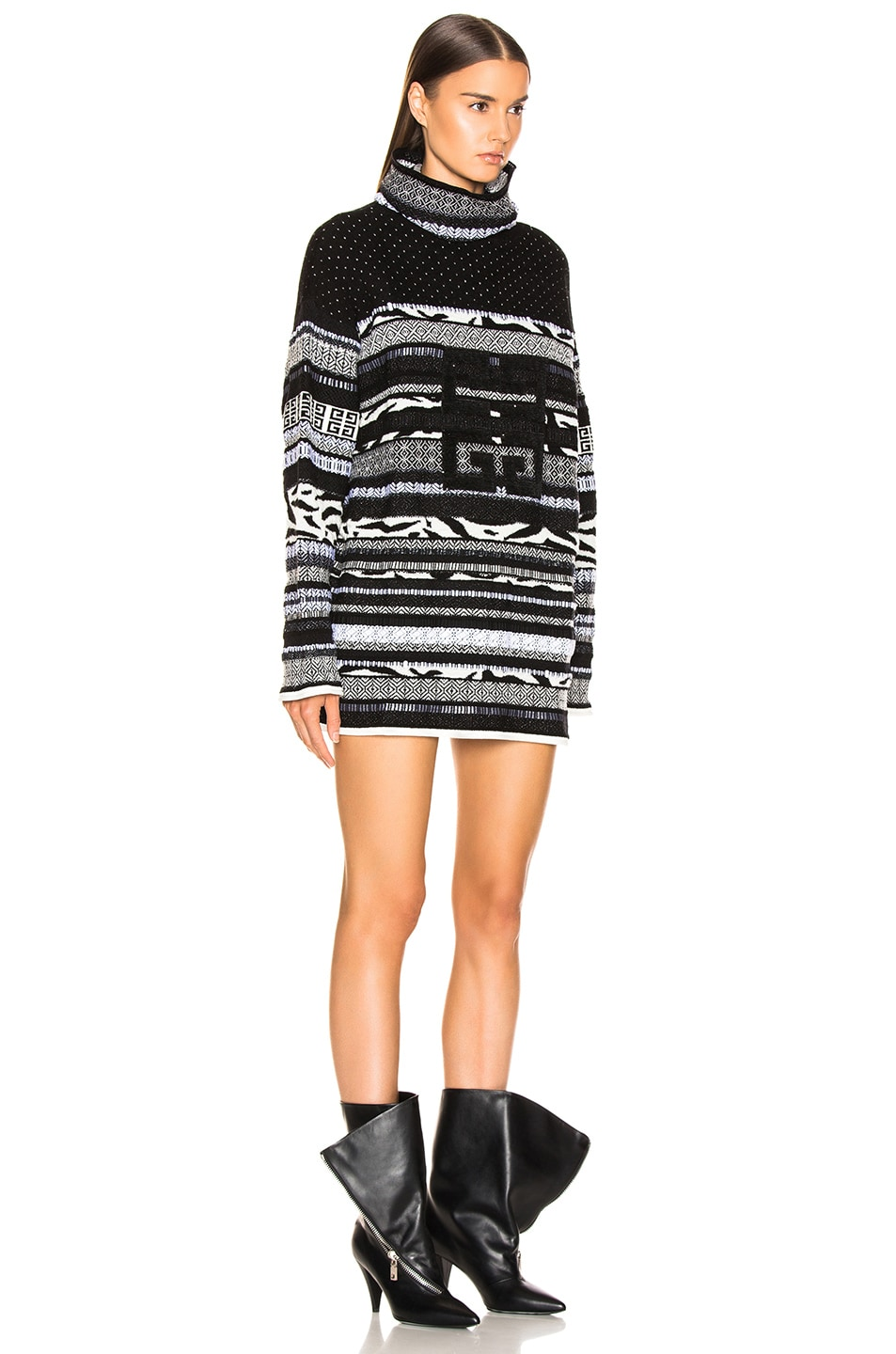 Image 2 of Givenchy 4G Stitched Printed Oversized Turtleneck Sweater in White & Black