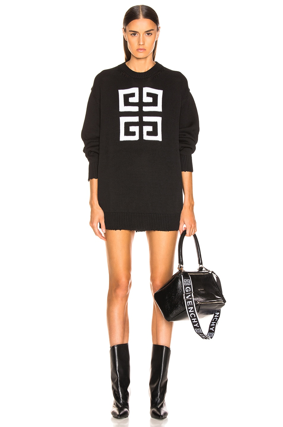 Image 1 of Givenchy Logo Sweater in Black & White