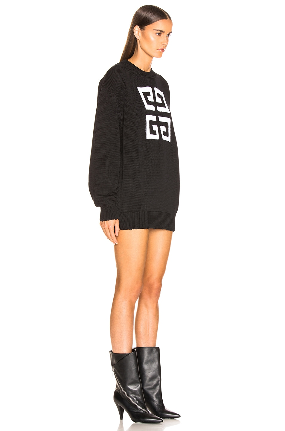 Image 2 of Givenchy Logo Sweater in Black & White