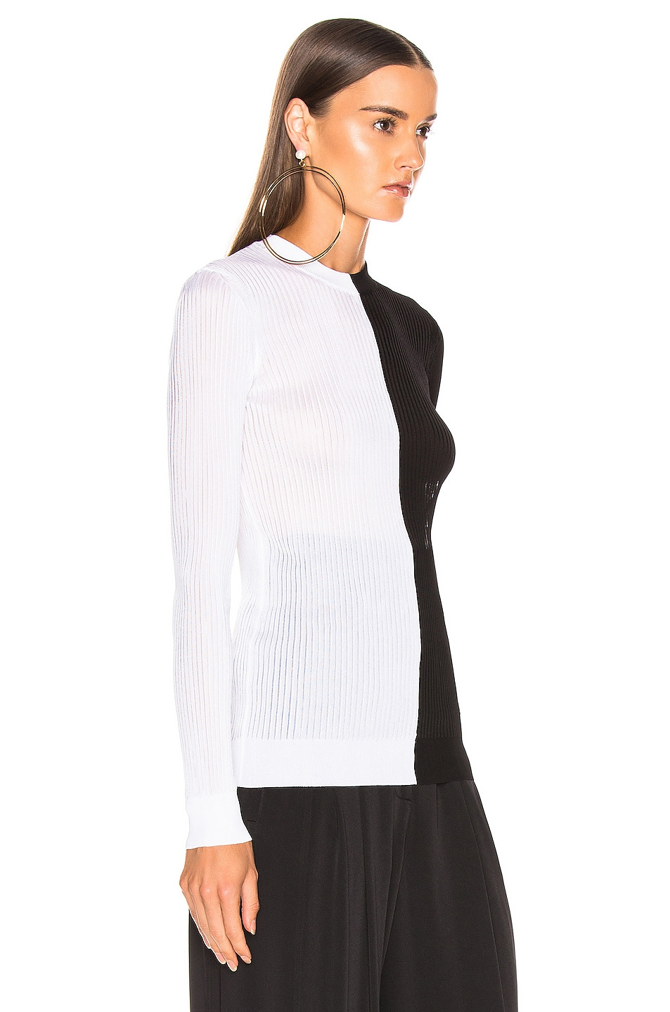 Image 2 of Givenchy Colorblock Rib Sweater in Black & White