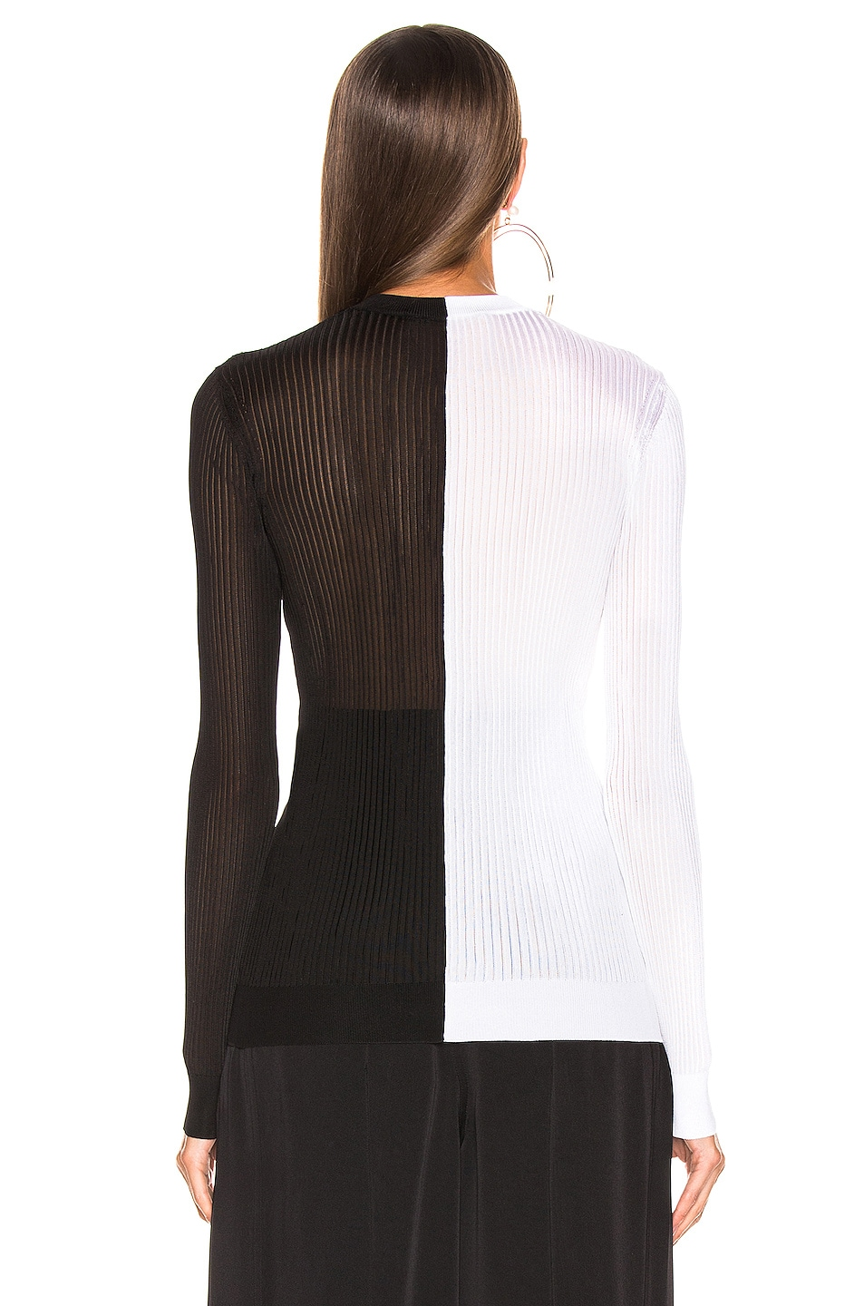 Image 3 of Givenchy Colorblock Rib Sweater in Black & White