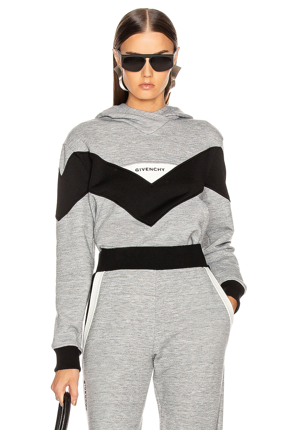 Image 1 of Givenchy Logo Hoodie in Grey & Black