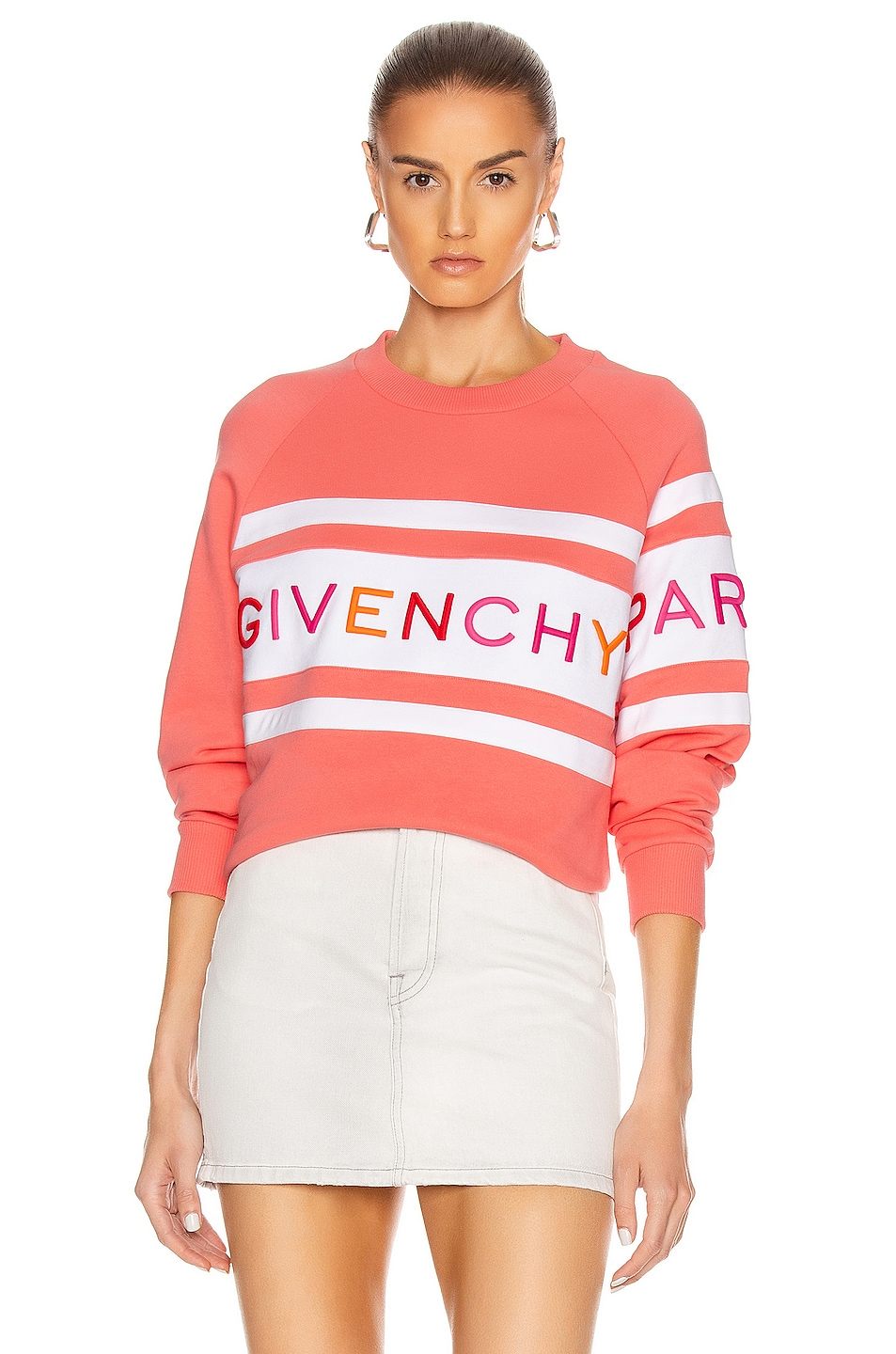 Image 1 of Givenchy Raglan Long Sleeve Sweatshirt in Coral & White