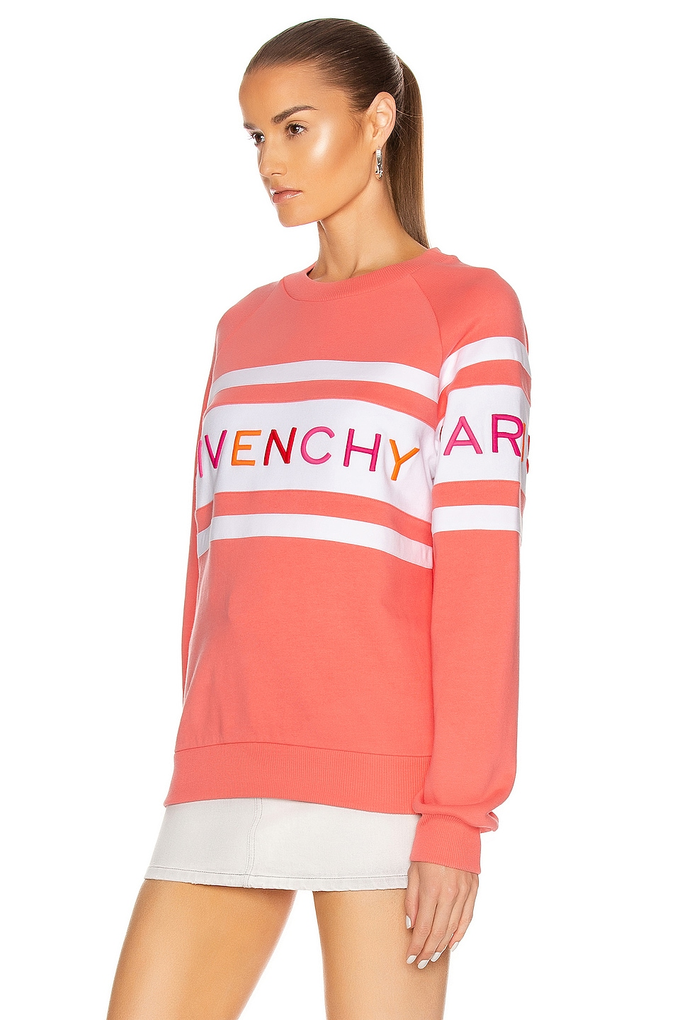 Image 3 of Givenchy Raglan Long Sleeve Sweatshirt in Coral & White