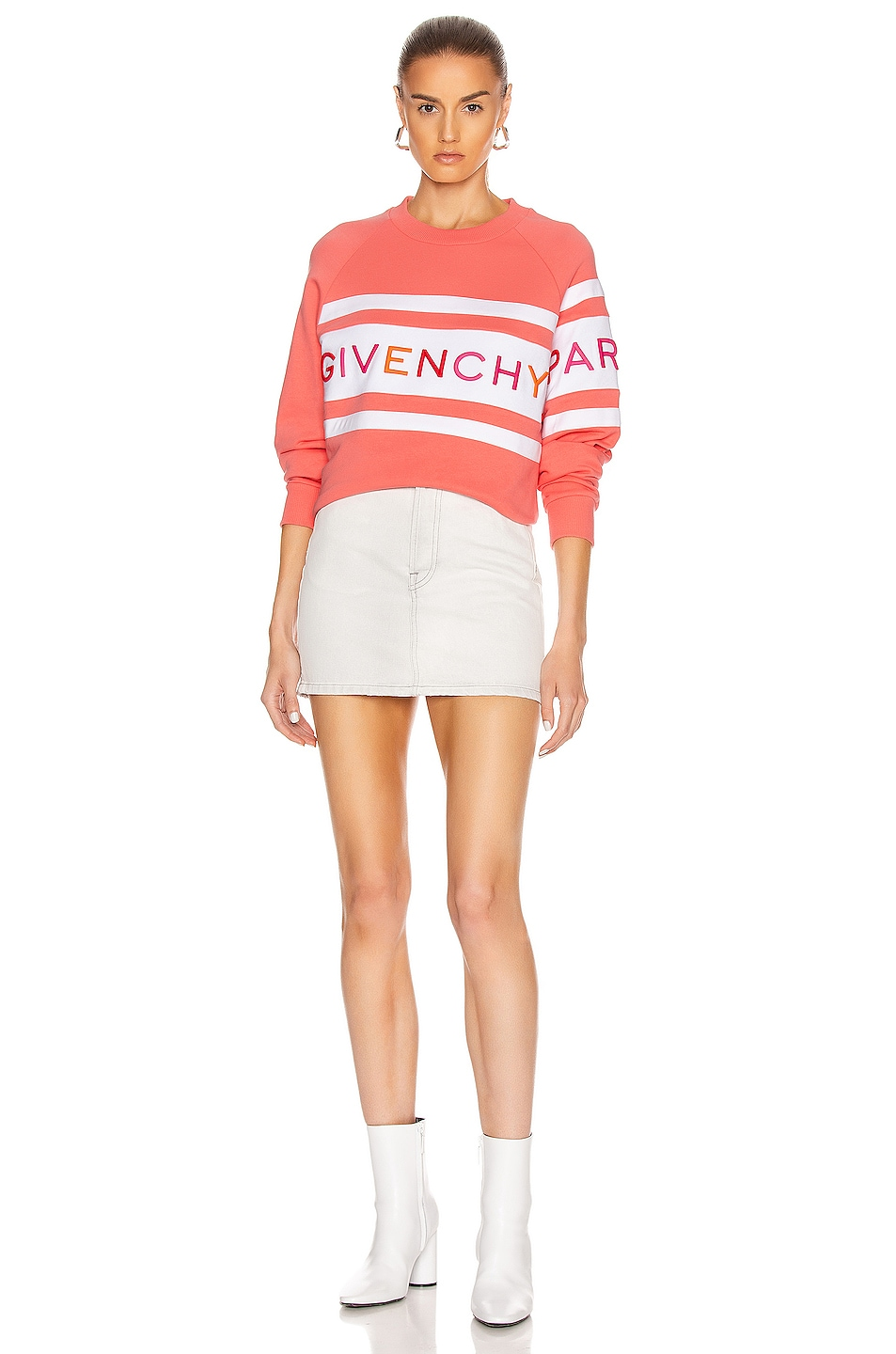 Image 5 of Givenchy Raglan Long Sleeve Sweatshirt in Coral & White