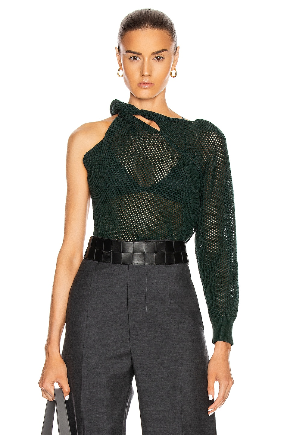 Image 1 of Givenchy Twisted Mesh Sweater in Green