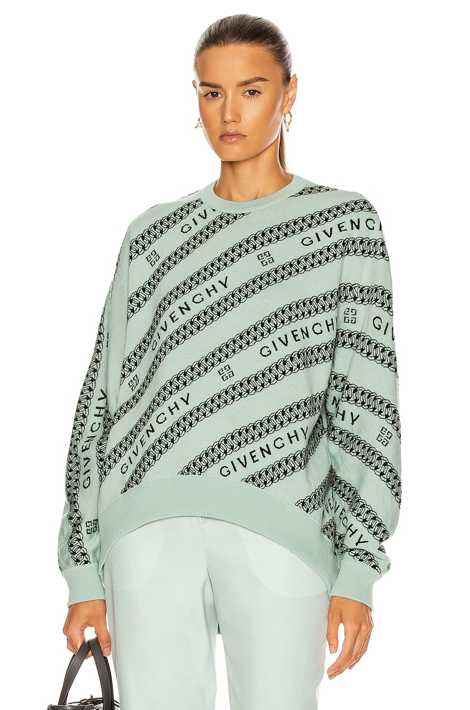 Image 1 of Givenchy Chain Logo Jacquard Sweater in Green & Black
