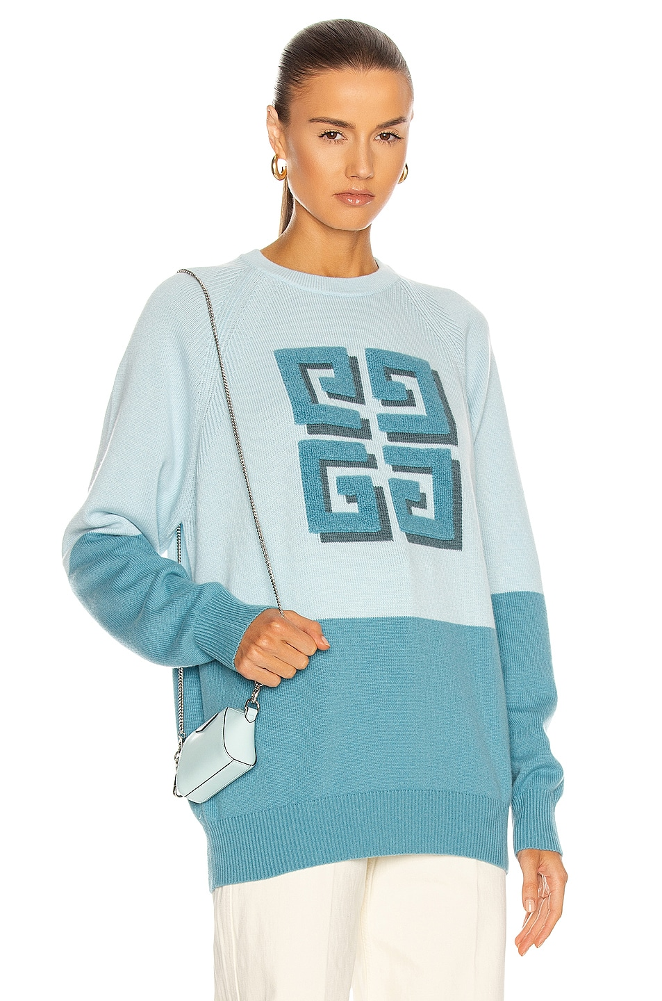 Image 1 of Givenchy Bicolor Crew Neck 4G Sweater in Sky Blue