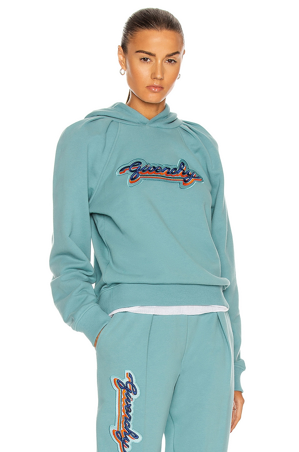 Image 1 of Givenchy Cropped Embroidered Hoodie in Celestial Blue