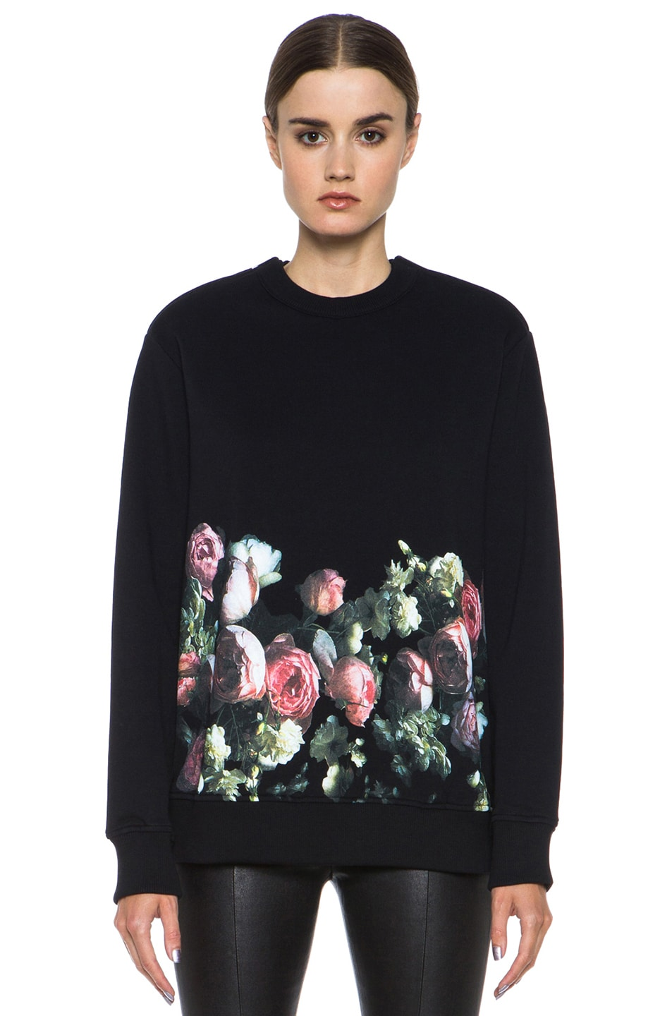 Image 1 of GIVENCHY Flower Border Sweatshirt in Black