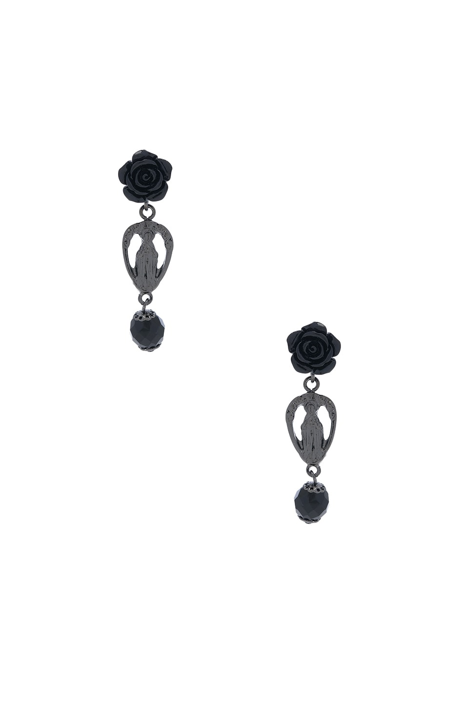 Image 1 of Givenchy Rosario Rose Earrings in Black & Black Resin