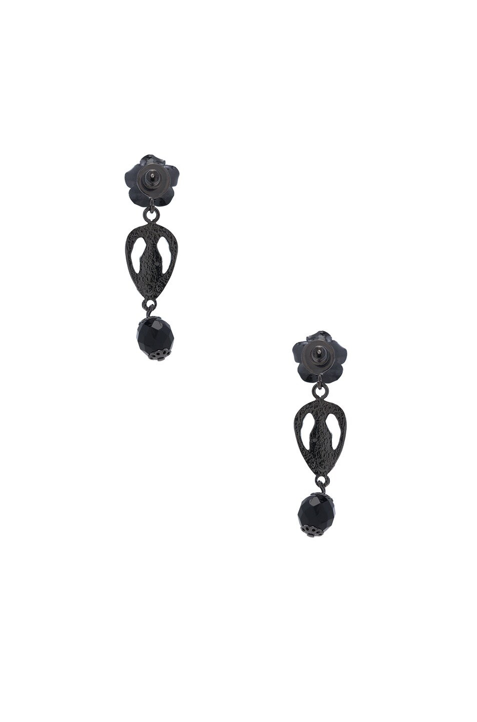 Image 3 of Givenchy Rosario Rose Earrings in Black & Black Resin