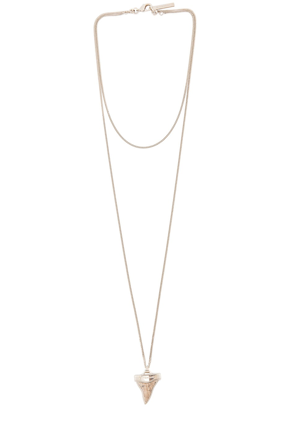 Image 1 of GIVENCHY Mini Shark Tooth Double Chain Necklace in Limestone