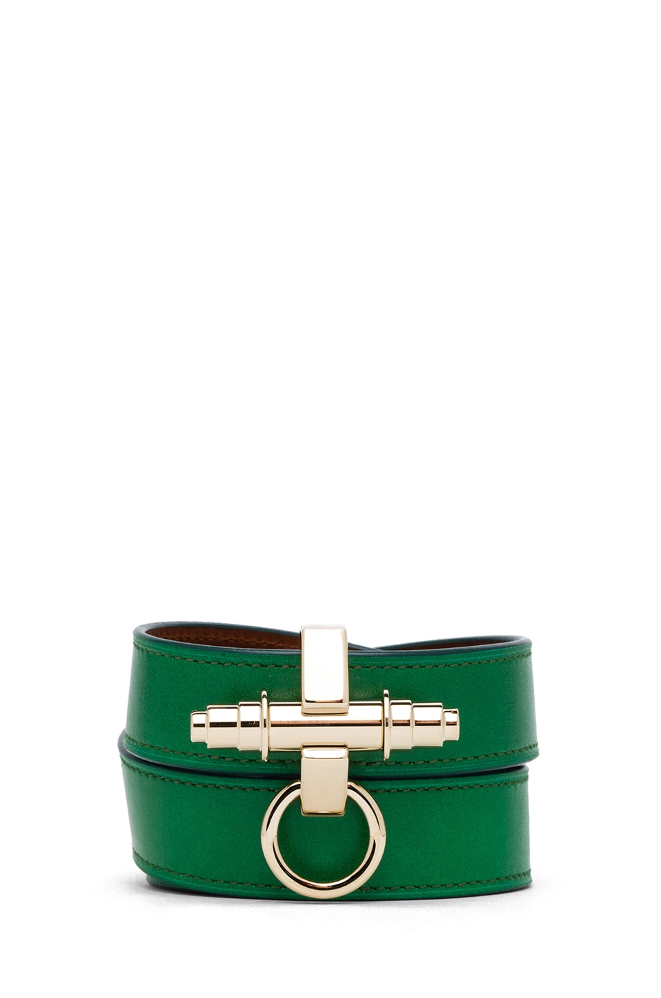 Image 1 of GIVENCHY Triple Obsedia Calfskin Bracelet in Emerald Green