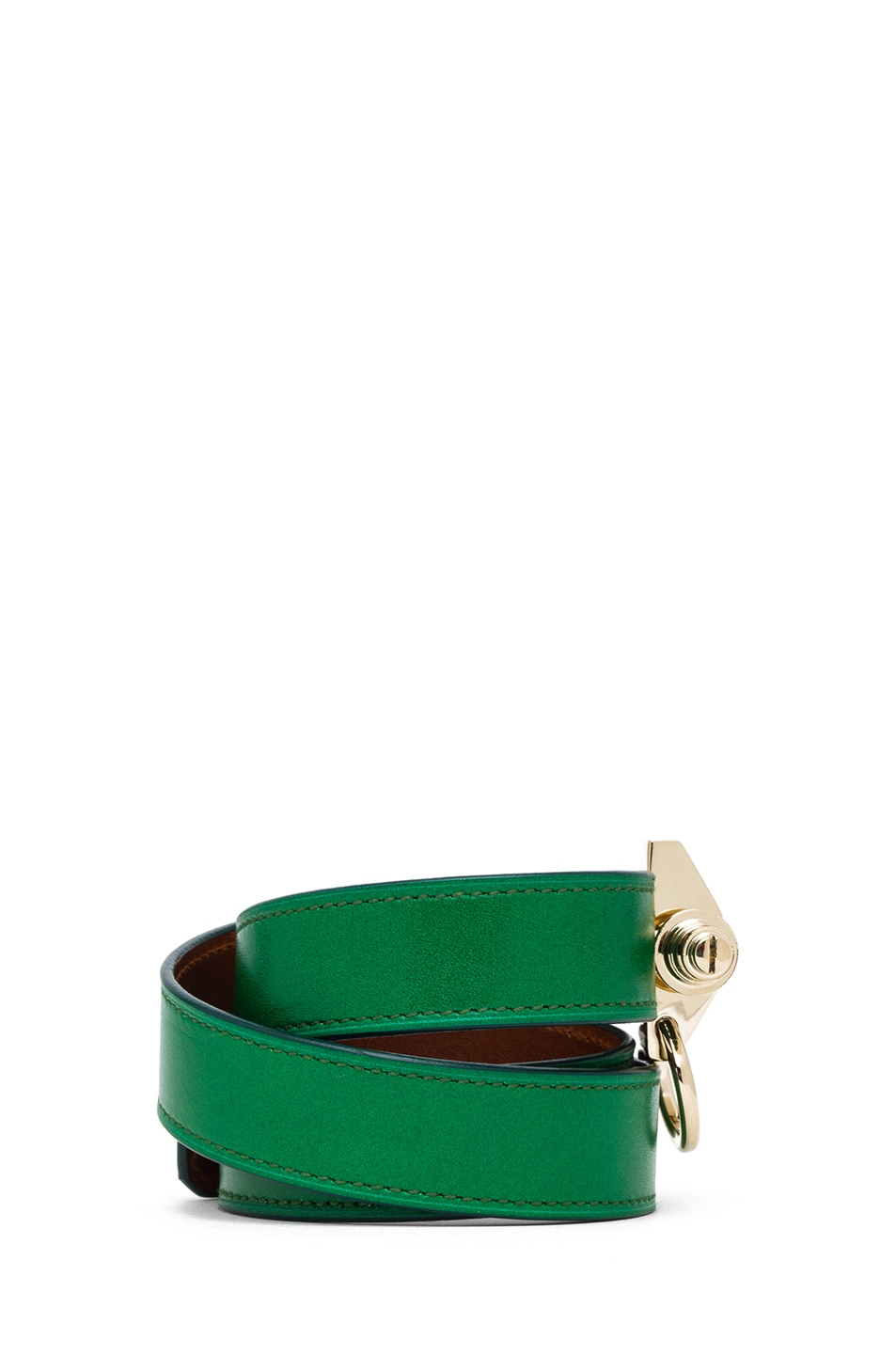 Image 2 of GIVENCHY Triple Obsedia Calfskin Bracelet in Emerald Green