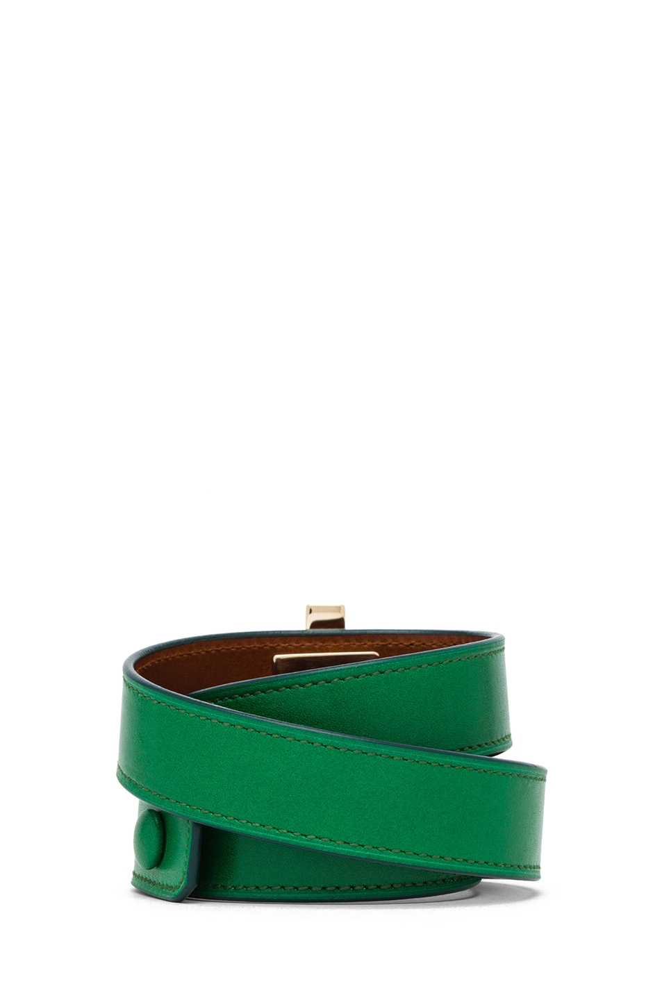 Image 3 of GIVENCHY Triple Obsedia Calfskin Bracelet in Emerald Green