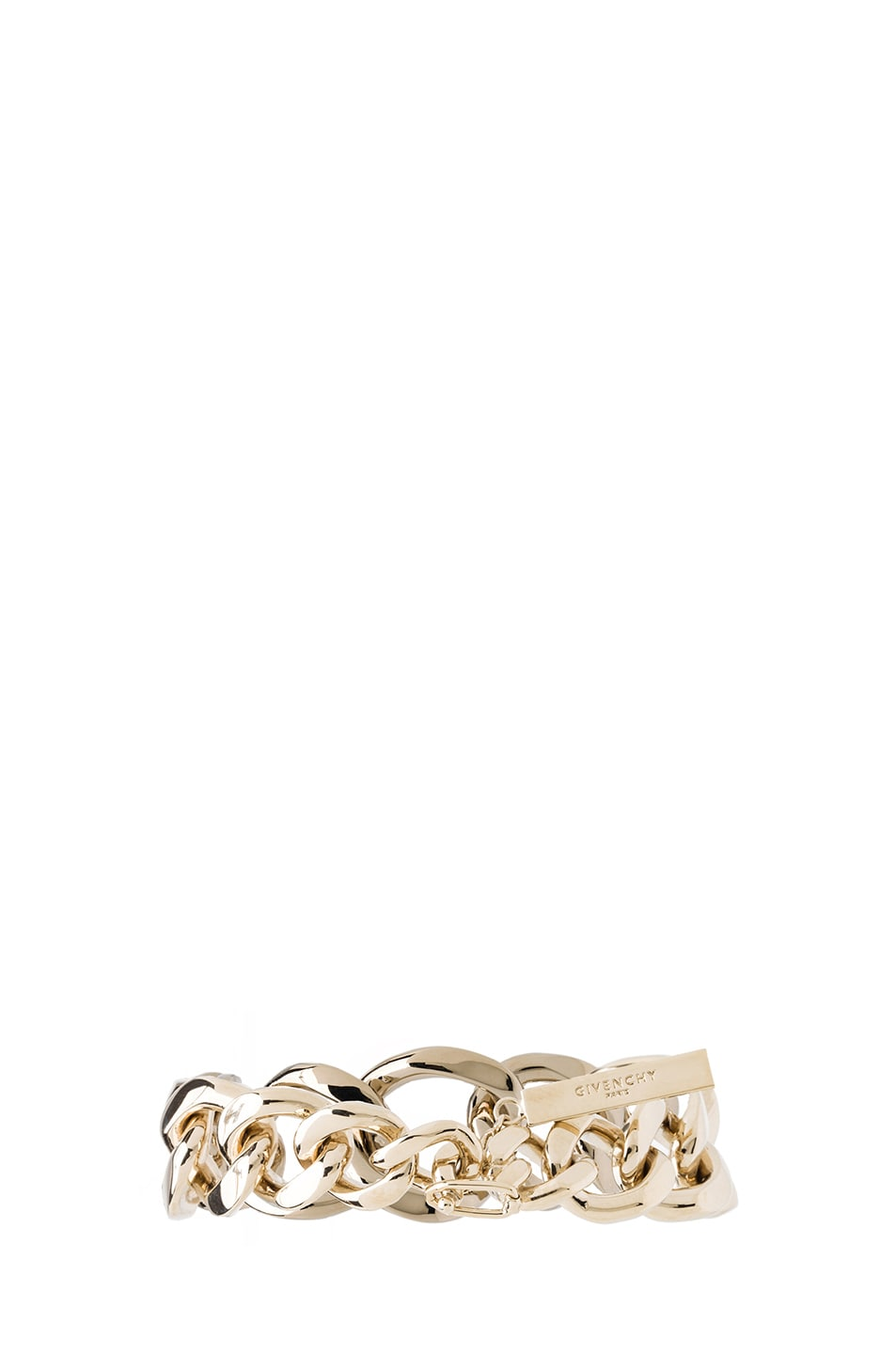 Image 3 of Givenchy Asymmetrical Brass Chain Bracelet in Pale Gold