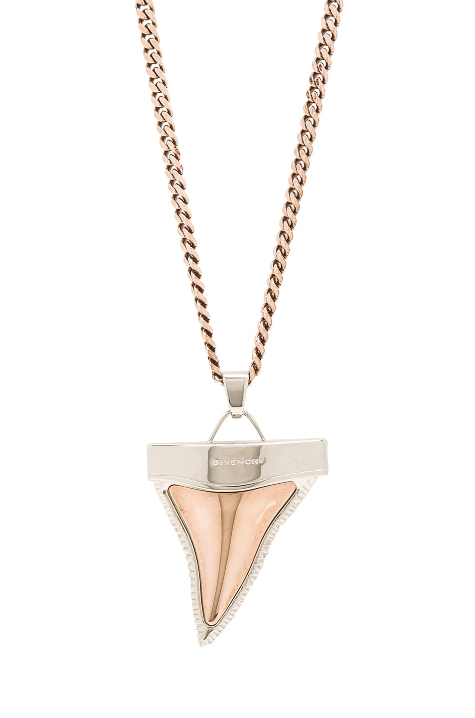Image 1 of GIVENCHY Large Shark Tooth Necklace in Old Pink & Silver
