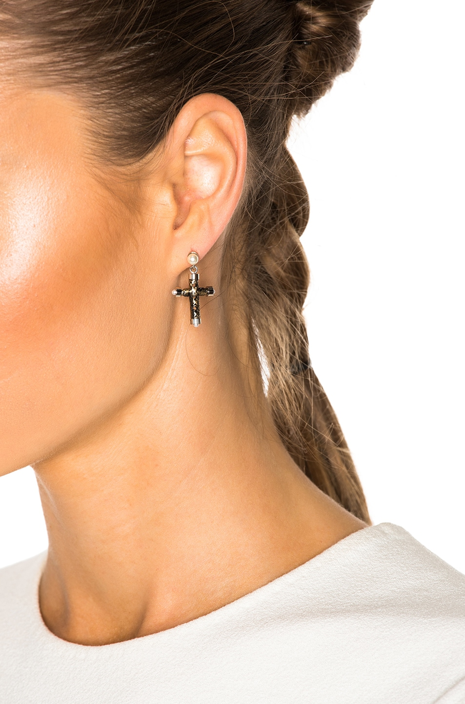 Image 4 Of Givenchy Cross Earrings In Bronze